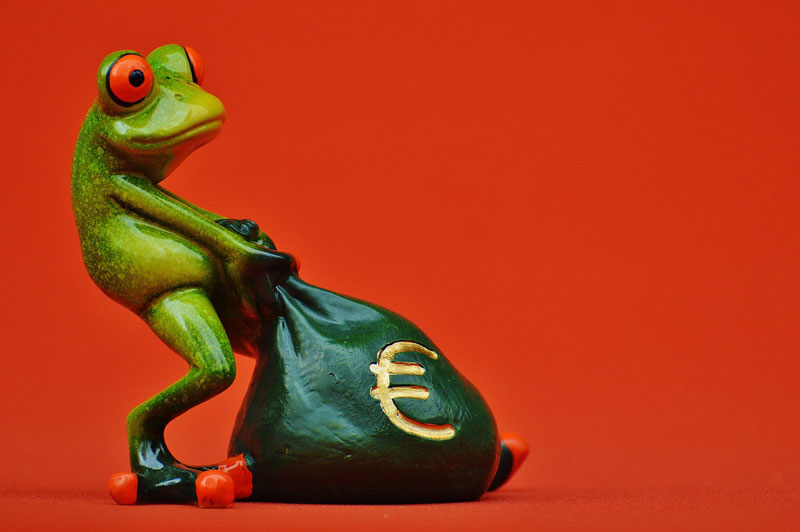 frog collecting money for Orchiectomy