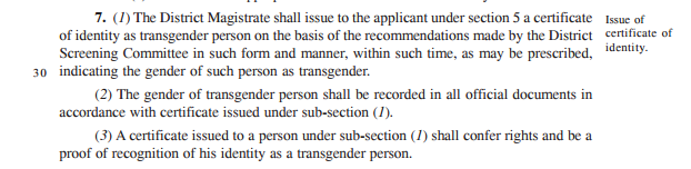 Certification only as a Transgender Person