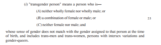Definition of a Transgender Person according to the Bill