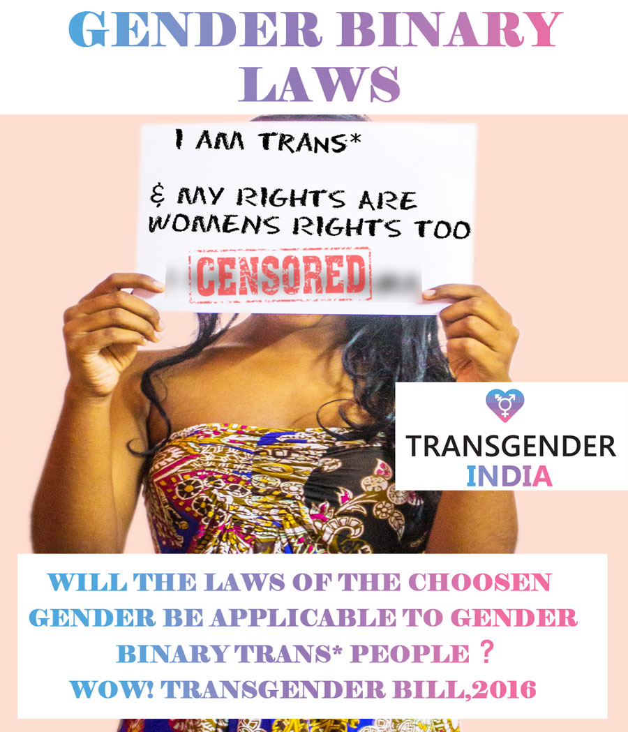 Gender binary laws for Transgender people In India; Transgender Bill; Gender binary laws for Transgen;