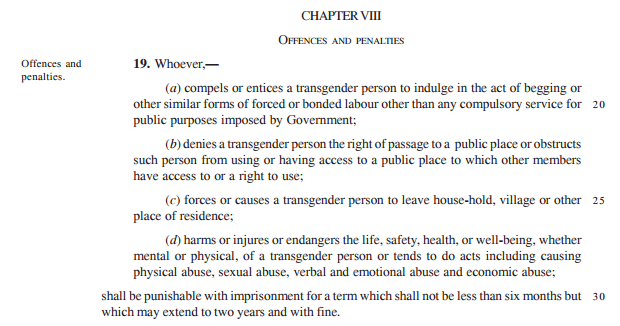 Penalties for offences against a transgender person