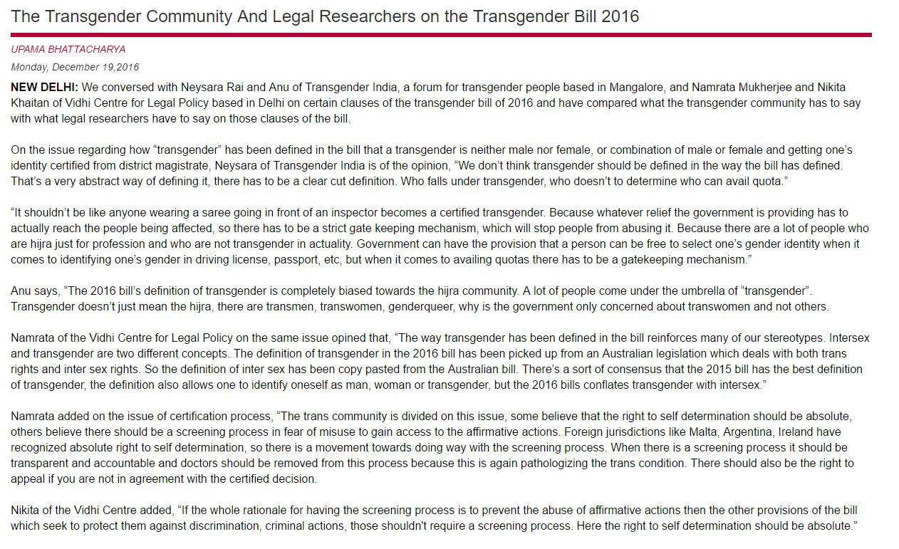 Transgender community vs legal researchers