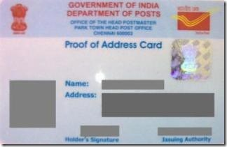 India post proof of address card
