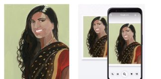 Painting of Neysara by artist Gayle Kabaker on Google lens